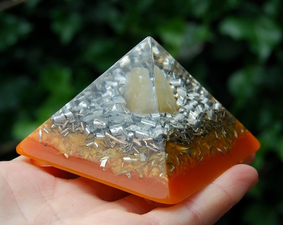 Orange Calcite Orgonite® Pyramid Giza Small