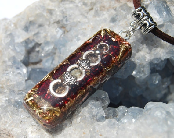 Almandine Garnet Orgonite® Pendant Protection UNISEX Necklace