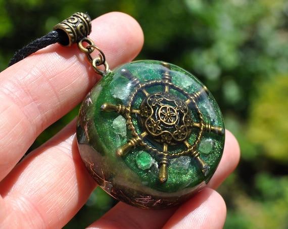 Nautical Ships Wheel Orgonite® Pendant Necklace with Tsavorite  - FREE Shipping !