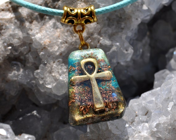 ANKH Orgonite® Orgone Pendant, Trapezoid Necklace