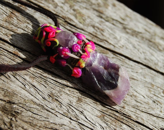 Raw Amethyst Pendant with UV Mushrooms Scenery Woodland Necklace