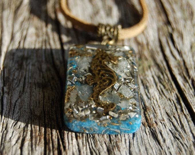 Seahorse Orgone Pendant Orgonite® with Aquamarine