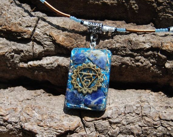 Orgonite® Orgone Pendant Throat Fifth Chakra Necklace with Sodalite, EMF Protection