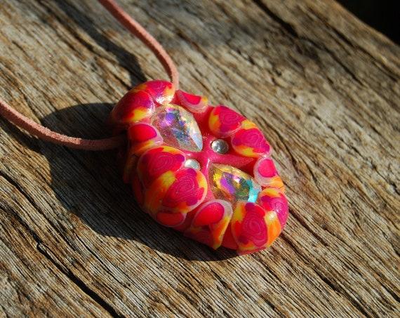 UV Pendant Crystal Fantasy Handsculpted UV Clay Necklace