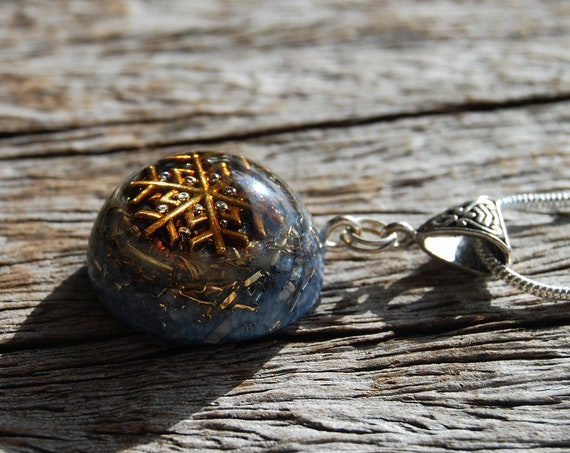 Raw Blue Kyanite Orgonite® Necklace, Small Pendant,  Unisex Crystal Jewellery