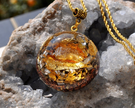 RESERVED Herkimer Diamond Petroleum Quartz Orgonite® Necklace, Double Terminated Crystal with 24k Gold