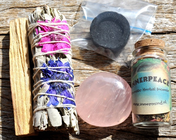 INNERPEACE Smudge Set - Herbal Incense  + Floral White Sage + Rose Quartz  + Palo Santo - FREE Shipping !