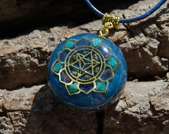 Merkaba Orgonite® Pendant Necklace with Amazonite and Amethyst, Unisex Homemade Unique