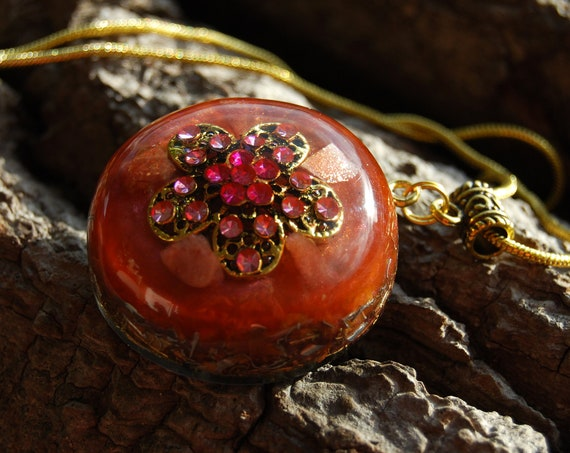 Sunstone Orgonite® Orgone Necklace Pendant - FREE Shipping !