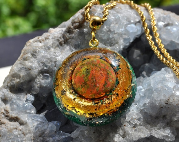 Large Unakite Orgonite® Pendant with 24K Gold - FREE SHipping !