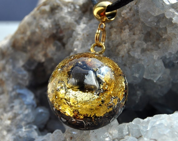 EMF Protection Orgonite® with Snowflake Obsidian and 24k Gold Pendant Necklace, Unisex
