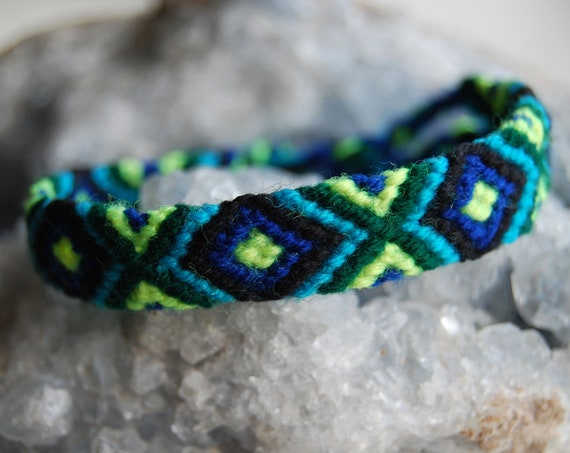 Friendship Bracelet Blue Green Black
