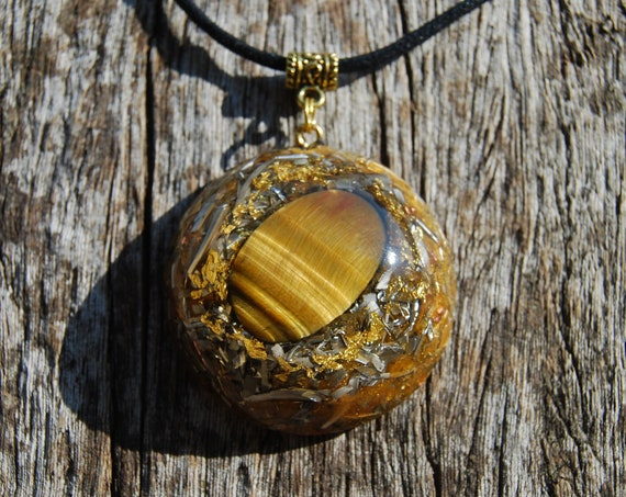 Orgonite® Tiger Eye Pendant with 24K gold LARGE Powerful Orgone Necklace