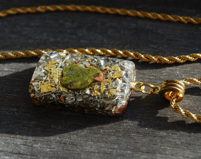 Unakite Orgonite® Mens Pendant Necklace with 24K Gold