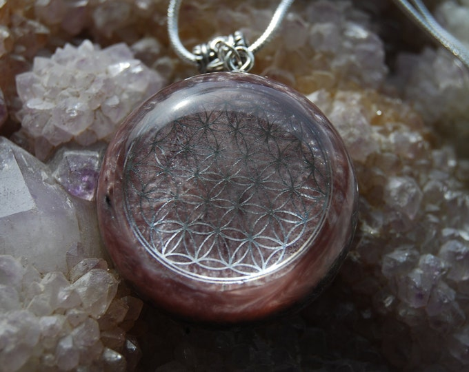 Flower of Life Orgonite®Pendant Rhodochrosite