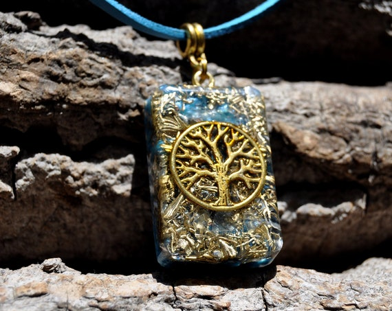 Celestite Celestine Orgonite® orgone Pendant, Tree of Life Necklace, Unisex