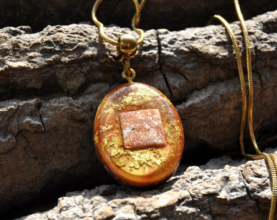 SUNSTONE Orgonite®  Pendant Necklace with 24k Gold