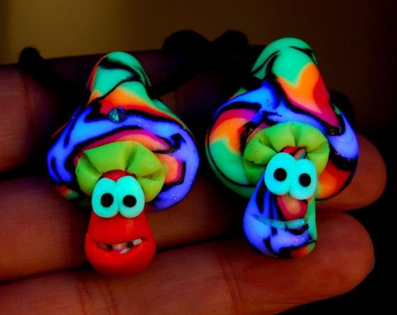 Set of TWO cute UV Mushroom Pendants Blacklight Fluorescent Necklaces Handsculpted