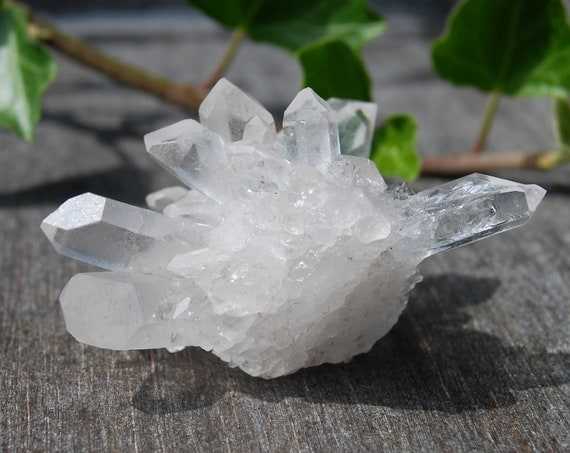 Clear Crystal Cluster from Minas Gerais, natural terminated raw rough