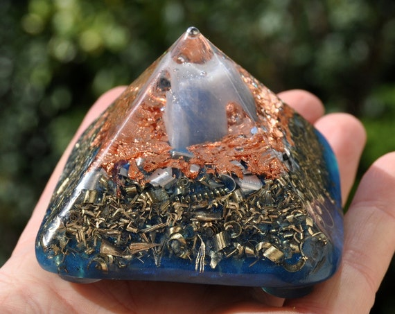 Orgonite® Pyramid with Blue Calcite Cheops Giza - 135 grams
