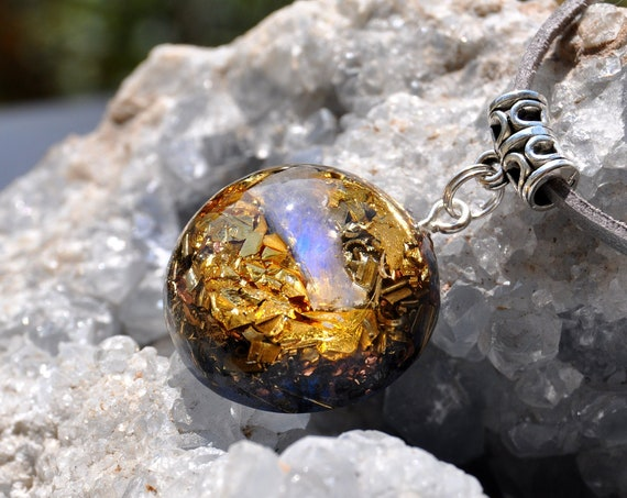 MOONSTONE Orgonite® Pendant Necklace with 24K Gold
