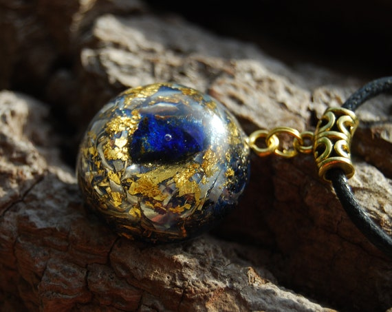Raw Azurite Orgonite® Orgone Pendant Necklace Unisex with 24K Gold