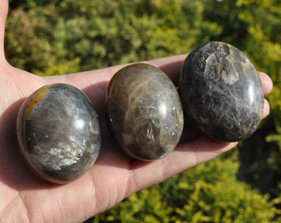 Black Moonstone Large Palm Stone, Polished