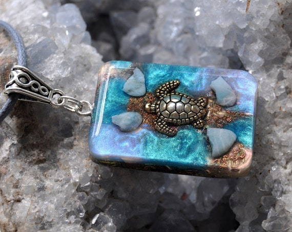 LARIMAR Turtle Orgonite® Pendant Necklace, EMF Protection