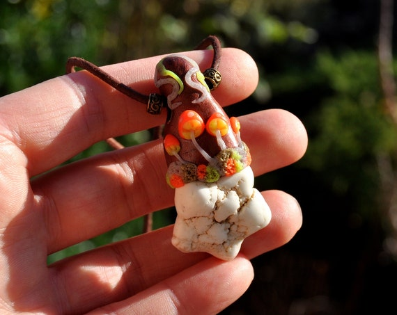 Magnesite Nodule with UV Mushrooms, Handsculpted Clay Pendant Necklace