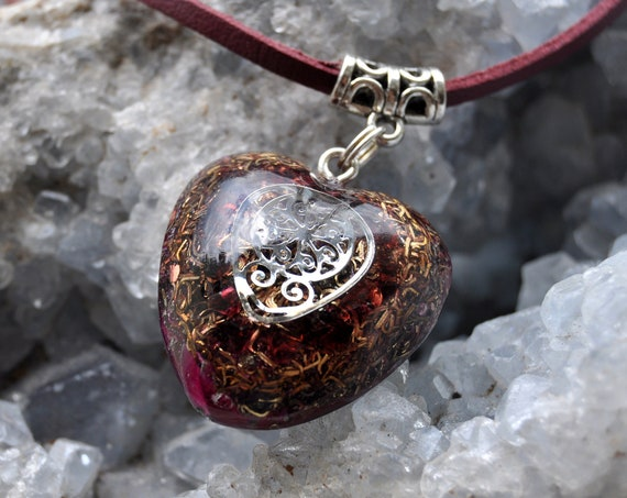 Red Garnet Orgonite® pendant Necklace, Love