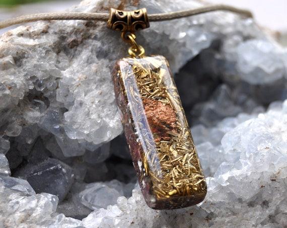Crystallized native Copper Orgonite® Pendant Orgone Necklace, Unisex
