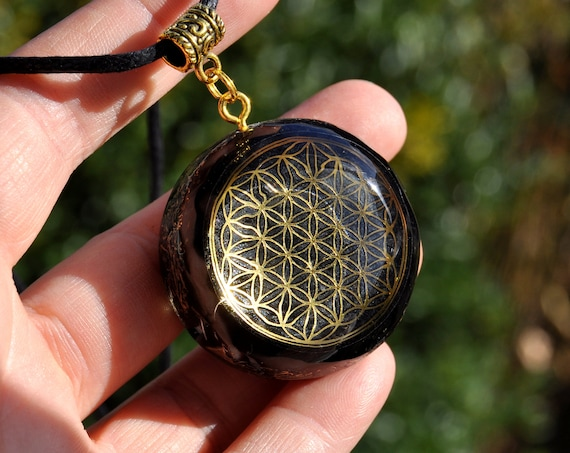 Black Flower of Life Orgonite® orgone Pendant Necklace Unisex