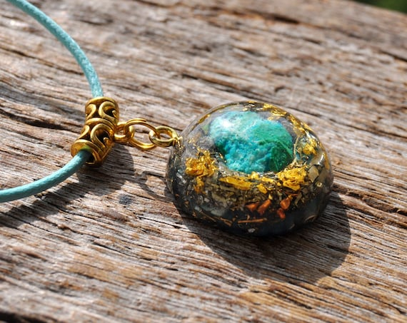Orgonite® Necklace raw Chrysocolla Pendant with 24K Gold, Unique