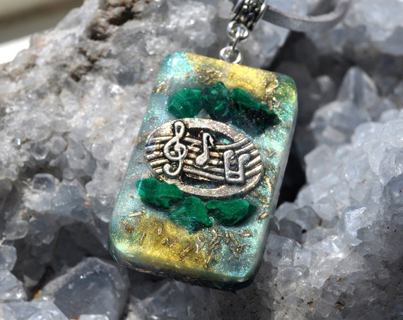 Raw Malachite Orgonite® Pendant Necklace, Music, EMF Protection, Unisex
