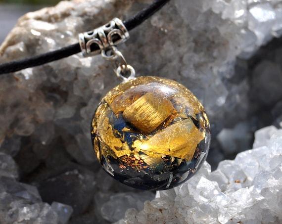 Tiger Eye Orgone Orgonite® Pendant Necklace with 24K Gold,  Unisex