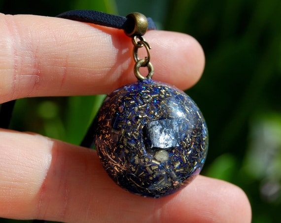 Galena Cubic Crystal Orgonite® Small Pendant