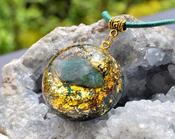 MOSS AGATE Orgonite® Pendant Necklace with 24K gold Unisex