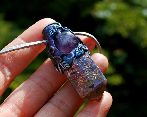 Amethyst Orgonite® Woodland Pendant,  Handsculpted Clay