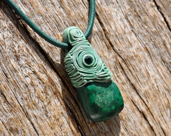 Malachite with clear Quartz Clay Pendant Necklace
