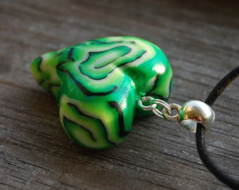 UV Blacklight Psytrance Pendant Green Heart Handsculpted Clay