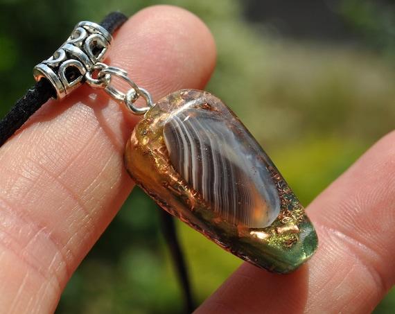 Botswana Agate Orgonite® Pendant Necklace, Unisex EMF Protection
