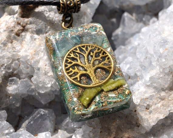 Indicolite Orgonite® orgone Pendant with raw blue and green Tourmaline Rectangle Tree of Life