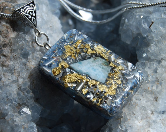Larimar Orgone Orgonite® Pendant Necklace with 24K Gold