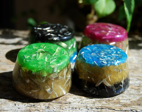 Lot of FOUR Multicolor Orgonite® Towerbusters, Orgone Tower busters - FREE Shipping !