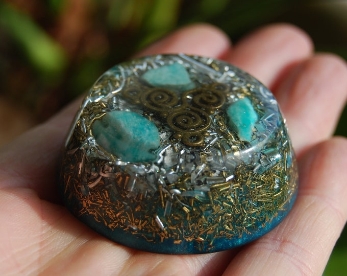 Raw Amazonite Tower Buster Orgonite® Orgone Generator Triskelion SMALL
