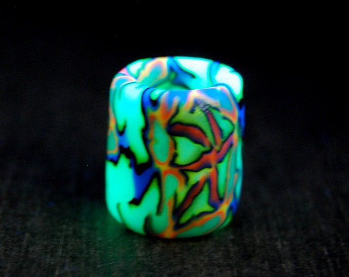 10 mm FREE Shipping ! UV Blacklight Fimo dreadbead  10 mm hole Psytrance
