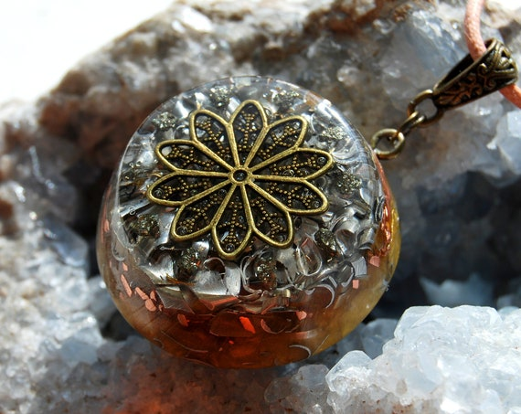 Real Orgonite® Pendant Necklace with Pyrite Clusters
