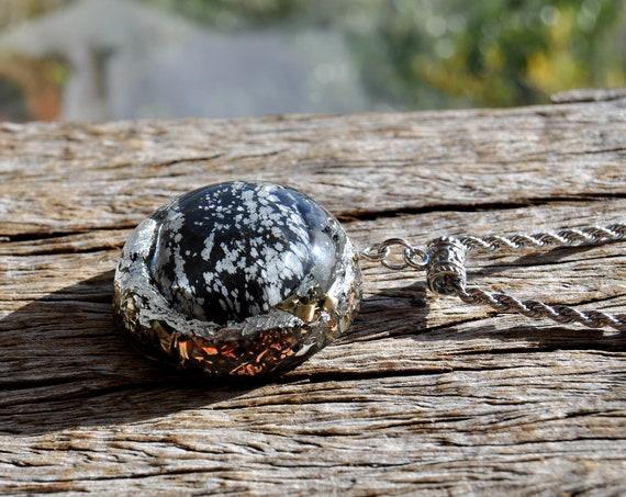 Snowflake OBSIDIAN Orgonite® Pendant Necklace, EMF BLocker, Unisex