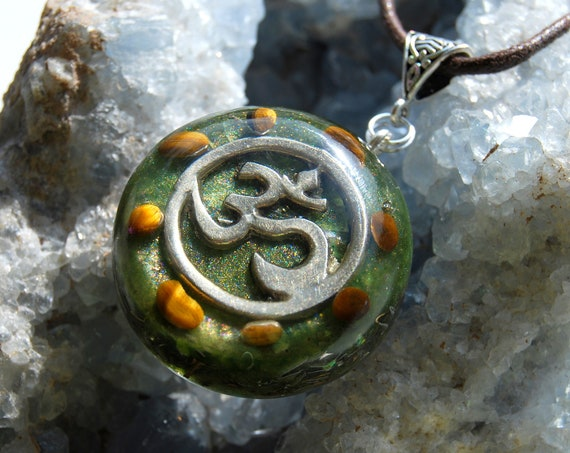 AUM with Tiger Eye Orgonite® Necklace Pendant, Unisex Orgone generator - FREE Shipping !