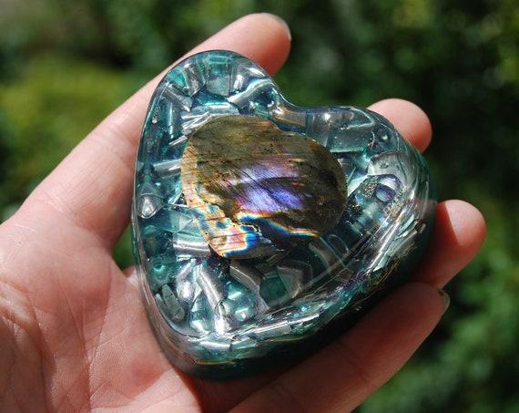 Heart with Labradorite Orgonite®  Orgone Generator®